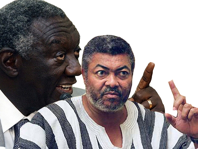 Rawlings (coloured) with Kufuor (background)