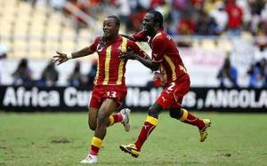 Youngster Dede Ayew celebrates the winner against Burkina Faso