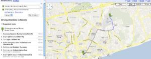 Screen shot Google map direction in Accra